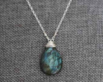 Large Faceted Labradorite pendant necklace wire wrapped in sterling silver