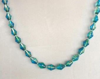Blue Green Beaded Necklace with Toggle Clasp
