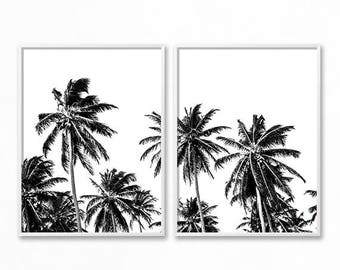 Black and White Palm Trees Print, 2 Piece Wall Art, Black and White Tropical Tree Print, Palm Trees Wall Art, Palm Tree Photo Tropical Decor