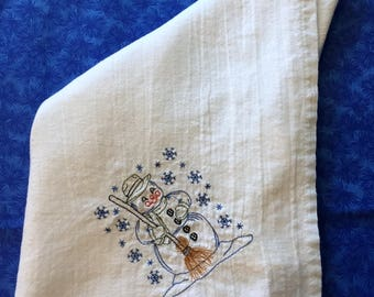 Made to Order Embroidered Flour Sack Dish Towel-Snowman w/broom
