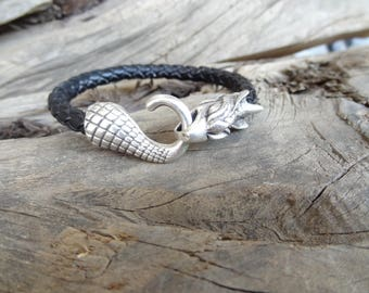 EXPRESS SHIPPING,Men's Black Leather Bracelet,Men's Jewelry,Dragon Bracelet,Braided Leather Bracelet,Men's Cuff Bracelet,Gifts for Her