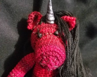 Cinnamon the hand crocheted miniature collectable zebracorn/unicorn
