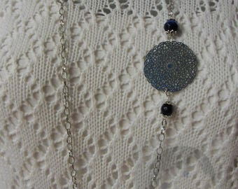 Print blue stainless steel necklace