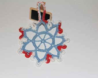 Christmas ornament handmade Red White Blue Snowflake