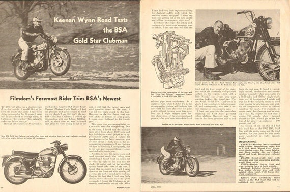 1955 Keenan Wynn Road Tests the BSA Gold Star Clubman Motorcycle 2-Page Article #5504mc01
