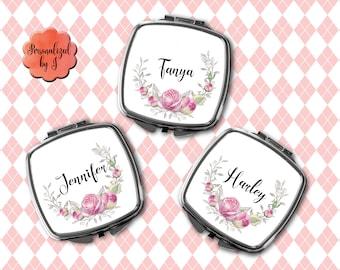 Bridesmaid Gift, Compact Mirror, Makeup Mirror, Personalized Mirror, Floral Print Pocket mirror, Hand Mirror #102