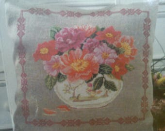 in shades of roses cross stitch