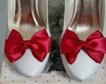 ON SALE Shoe clips Bridal shoe clips Satin bow shoe clips Wedding Shoe Clips Many color available