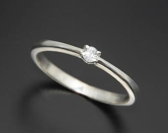 Delicate ring, Diamond ring, White gold ring, Promise ring for her, Tiny ring, Dainty diamond ring, Minimalist ring, Small diamond ring