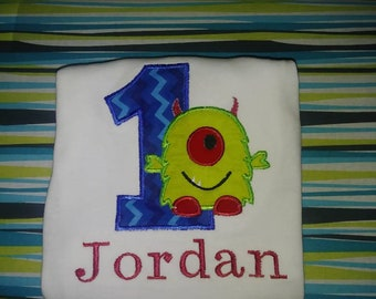 Cute One eyed monster Birthday/embroidered birthday shirt/Birthday Boy/cute monster onsie/ one eyed monster/monster birthday theme