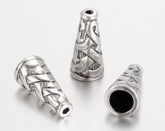 Set of 5 caps-shaped CONE braided 18 X 18 X 8 mm antiqued silvered Metal
