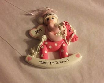 Baby Girl on Rocking Horse Personalized Ornament