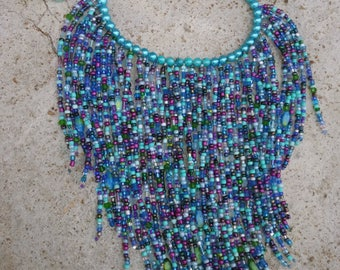 Teal/Purple Glass Beaded Waterfall Necklace