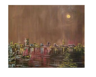 """Night Harbor Sea Landscape FREE SHIPPING Marine Original oil impasto painting stretched canvas 16"""" X 20""""  No.01-01 ready to hang"""