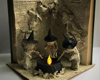 Shakespeare Macbeth Book Sculpture THREE WITCHES Paper Art Book Light
