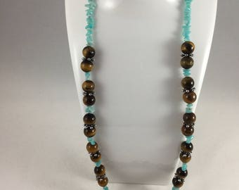 Tigers eye and amazonite necklace