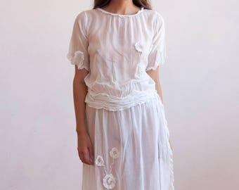 Rare 1920s drop-waist muslin day dress unworn antique art deco