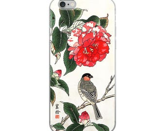 Japanese flower iPhone case, red Asian woodblock print art, great for flower lovers, bird lovers, and Japanese print lovers!
