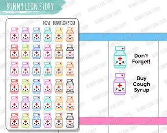 00256   36 Bottles Pill Tablet Vitamin Medicine Health Reminder Schedule Cute Kawaii Agenda Diary Journal Scrapbook Happy Planner Stickers
