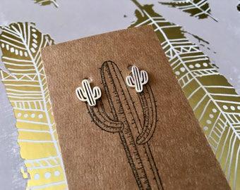 Cactus earrings, silver cactus earrings, dainty cactus earrings ,southwestern cactus earrings, saguaro cactus earrings, tiny cactus studs