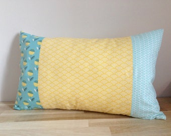 30 x 50, flowers, blue, yellow and white rectangular Cushion cover.
