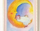 Moon cat - A4 Poster Print