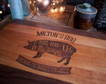 Gift for Dad, Father's Day,  housewarming, engraved wood cutting board, carving board, grill logo , pop's bbq gift for grandpa