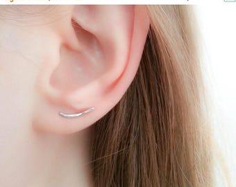SALE - Tiny Silver Ear Climber-Ear Climber Earrings-Silver Ear Climber-Ear Crawler-Bar Earrings-Silver Bar Earrings-Ear Sweep