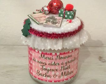 Christmas candle nanny, red, customizable. Phrase choice + name