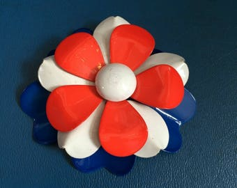 Vintage 1960s Red White and Blue Enamel Flower Brooch
