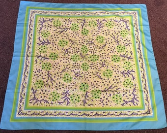 Vintage Blue Green and White Flowered Scarf