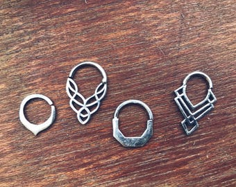 Silver Septum Real Nose Ring Piercing Jewelry Indian Nathori Sterling Argent  Tribal Ethnic Gipsy style