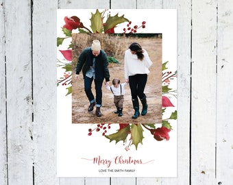 Photo Christmas Cards, Photo Holiday Cards, Square Photo, Red And Green, Holly, Printable, Printed
