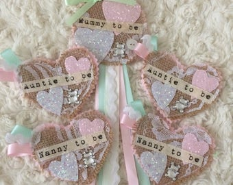 Baby shower rosette and badge favour set - mint green and pink, personalised, mummy to be, sparkly, shabby chic, vintage