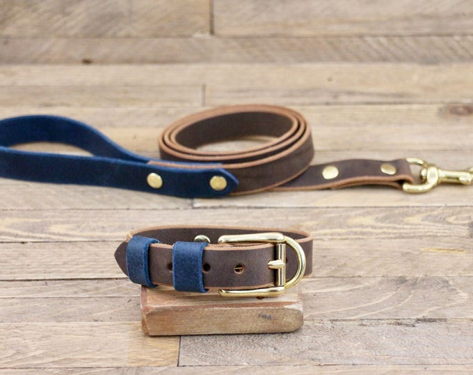 Collar and leash set, Cocoa, Deep ocean, Brass hardware, FREE ID TAG, Handmade leather collar, Leather leash, dog leash, combo.