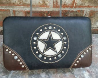 Leather Wallet with Rhinestone Crystal Star Adornment *Exceptional Condition