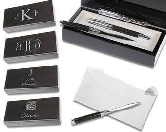 Personalized Pen and Letter Opener Gift Set With Carbon Fiber Box - Monogram Desk Accessories Set - Laser Engraved Letter Opener and Pen