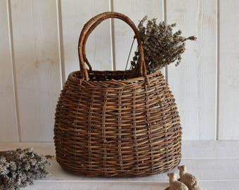 Antique French basket - hazel wood- French bike country garden bicycle