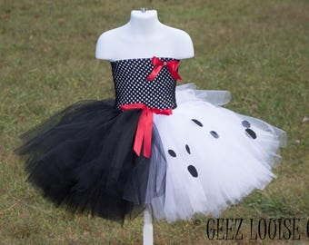 Cruella Halloween Costume Inspired Tutu Girl Skirt Boutique Bows Clothing Baby Toddler dalmatian puppy dog Outfit