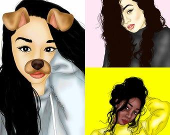 DIGITAL DOWNLOAD Cartoon Portrait, Digital Portrait, Cartoon drawing, digital art, digital cartoon, custom portrait, custom digital portrait