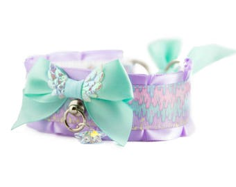 Pastel Kitten Play Collar, Pet Play Collar, DDlg Collar, Tug Proof Collar, BDSM Collar, Kitten Play Gear, Twisted Angel (Mint)