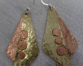 Brass and Copper Earrings with Hammered texture, Rustic Shaped Copper Rivets and Flattened Sterling Silver Ear Wires with Ball JER135SS
