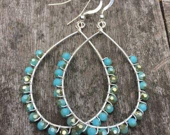 Blue beaded wire wrapped silver hoop earrings