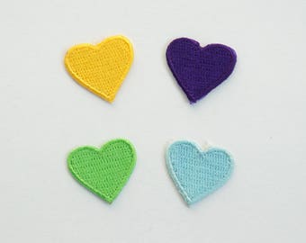 Yellow Green Purple Blue Heart Embroidered Iron On Applique Patch DIY Sew-on