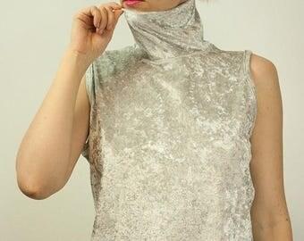 ON SALE Vintage 80's style Velvet Velour Turtleneck Top in Silver