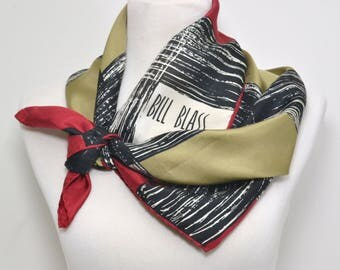 Vintage Designer Scarf, Bill Blass, All Silk, Excellent Condition, Crimson Red, Beige and Black, Classic Bill Blass, Glentex, Made in Japan