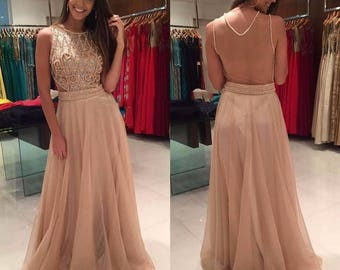 Stunning Dress with Scoop Neckline Pearls /Beaded / Floor Length Sleeveless Prom Dress / Evening Dress