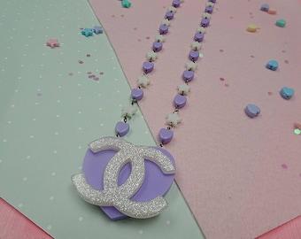 Purple Sparkle Heart Necklace