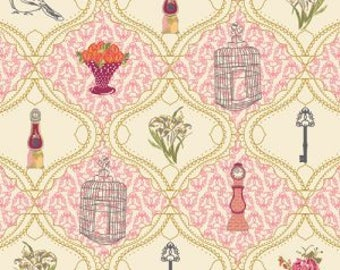 SALE Art Gallery Fabric - Bari J Lilly Belle French Sampler in Rose Fabric - LillyBelle Pink - Clearance Fabric by the Yard - Quilt Fabric