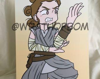 Star Wars Fan Art: Rey Postcard Print